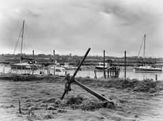 Anchored! (3pebbles) Tags: blackandwhite monochrome walberswick southwold harbour anchor river blyth landscape sea coastal boats sky church moorings