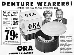 1950s Ora Denture Cleaner Ad (Christian Montone) Tags: ads advertising vintageads adverts vintage print printads 1950s midcentury