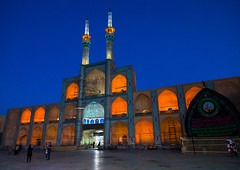 The three-storey takieh part of the amir chakhmaq complex, Yazd province, Yazd, Iran (Eric Lafforgue) Tags: amirchakhmaqcomplex architectural architecture attraction blue bluehour building chakhmagh chakmak chakmaq chaqmagh city clearsky colorimage copyspace horizontal hosseinieh illuminated incidentalpeople iran iranian islam middleeast minaret minarets mosque night outdoors people persia religion shia shiite sunny takieh takyeh town travel traveldestinations twilight urban yazd zoroastrian yazdprovince ir