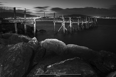 Holywood Pier (dareangel_2000) Tags: dariacasement holywoodpier holywood codown northernireland paintingwithlight twilight landscape nightphotography seascape rocks sea sunset sundown texture longexposure monochrome blackandwhite