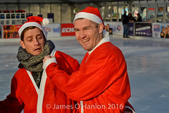 Liam Smith and Philip Olivier (tinhead) (James O'Hanlon) Tags: santadash santa dash katumba liam smith paul stephen liamsmith paulsmith stephensmith alankennedy philipolivier tinhead alan kennedy btr juliana ritchie photo shoot press ice rink icerink lfc