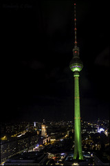View from My Hotel Room - Alexander Platz (KSDiaz) Tags: berlin germany alexanderplatz tower city hotel window parkinn night buildings lights nightscape canon canonrebelt5i