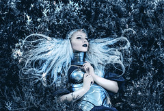 Chivalis (Kindra Nikole) Tags: kerli fae magic white floral heather flowers snowy crisp icy frost frosty hair black lips armor armored woman women lady girl ethereal surreal fairy fantasy