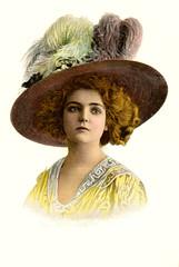 Ein Model 1910, kolorierter Druck (zimmermann8821) Tags: atelierfotografie deutscheskaiserreich fotografie fotografiekoloriert mannequin person postkarte vorführdame hutmode model porträt modefotografie bluse