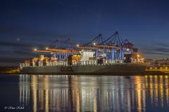 Container Terminal Altenwerder - 24111601 (Klaus Kehrls) Tags: hamburg hamburgerhafen schiffe containerschiffe krne spiegelung nachtaufnahme khlbrand elbe wasser flsse blauestunde