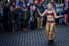 Dancing in the Streets (Ian Livesey) Tags: ulverston dickensian christmas festival bellydancer fireeater streetperformer cumbria woman bearedwoman