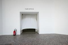 Fair Office (PM Kelly) Tags: paris photo fair 2016 grand palace palais red door passage curtain drap white wall extinquisher floor photography entrance enter