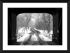 Covered (david.horst.7) Tags: bw blackandwhite framed monochrome winter snow bridge coveredbridge