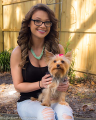 Kalli and Zoey (76) (BuccaneerBoy) Tags: yorkie yorkshireterrier puppy dog woman girl female hooters hooterscalendargirl florida clearwater largo seminole stpetersburg model beautiful lovely fun family fall autumn november