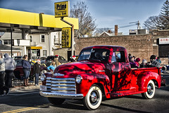 Red Truck in Shadow (PAJ880) Tags: chevy chevrolet truck 1950s quincy ma wollaston christmas parade