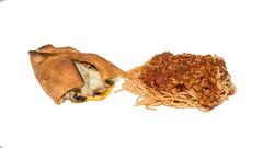 Food Porn:  Left Overs for Breakfast (Oliver Leveritt) Tags: nikond7100 afsdxnikkor1855mmf3556gvr kitlens oliverleverittphotography sb800 flash speedlight garyfonglightspherecloud foodporn food stromboli pasta spaghetti meatsauce leftovers whitebackground