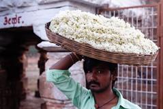 Jasmine flower seller (KeithDM) Tags: india temple basket jasmine karnataka flowerseller banashankari