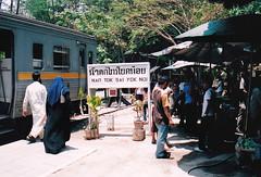 Thailand - Burma Railway - Sai Yok Noi (railasia) Tags: 2004 station thailand infra kanchanaburi srt nameboard burmarailway saiyoknoi photographyby metergauge thasao platformdelights