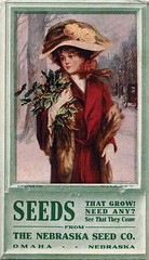 Antique Christmas Postcard - Woman with Holly (Brynn Thorssen) Tags: santa christmas xmas red roses holiday snow green vintage advertising fur gold nebraska antique victorian holly seeds advertisement postcards yule fatherchristmas santaclaus omaha merrychristmas santaklaus redcoat happynewyear happychristmas yuletide oldsaintnick furstole   rosesonhat nebraskaseedcompany nebraskaseedco neseedco seedadvertisement