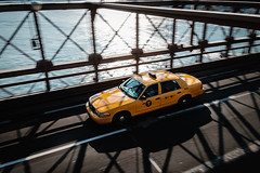 Brooklyn, you go hard (adrien.photography) Tags: street new york city bridge blue sunset sky urban usa ny ford water car yellow architecture brooklyn river cityscape manhattan cab 500px ifttt