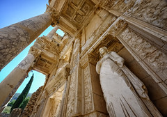Library of Celsus at Ephesus, Turkey (` Toshio ') Tags: woman rome tree history statue turkey ancient roman library column ephesus celsus romanruins toshio libraryofcelsus xe2 fujixe2