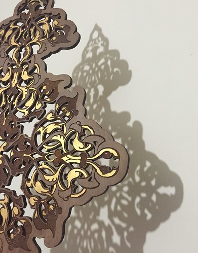 Arabesque Pre. Gouache on Lasercut and engraved wood. Ⓒ Sara Choudhrey