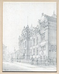 DMU's Hawthorn Building, by Walter Brand, c. 1920 (demontfortuniversity) Tags: 1920s architecture pencil buildings drawing leicester