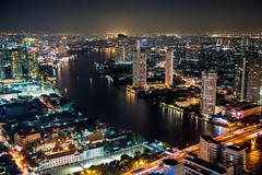Chao Praya River By Night (smithtecart) Tags: city skyline architecture bar night thailand lights cityscape bangkok aerial explore f28 chaopraya skybar statetower thedome krungthepmahanakhon 14mm thonburi samyang explored lebua totallythailand nikond750