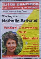 Meeting avec Nathalie Arthaud vendredi 13 (emmanuelsaussieraffiches) Tags: poster political politique affiche lutteouvrire