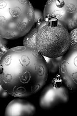 christmas silver (MODELLEUS2) Tags: christmas xmas decorations blackandwhite white holiday black glitter silver festive seasonal noel ornament bauble monochrone