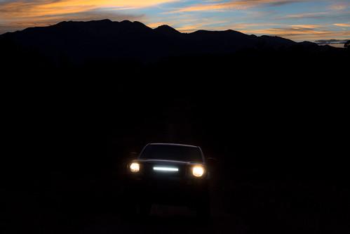 sunset mountains night landscape evening twilight colorado darkness offroad 4x4 led toyotatacoma collegiatepeaks lightbar