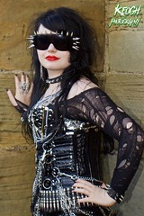 IMG_7752 (Neil Keogh Photography) Tags: black church girl graveyard sunglasses chains punk pants boots lace bra goth ripped tights corset collar spikes straps buckles spiked whitbyabbey whitbygothweekend borderfx