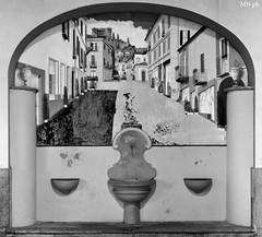 Fontana in via Piol (MarcYz184) Tags: street blackandwhite bw 35mm torino nikon bn fontana rivoli biancoenero sera passeggiata fusione 3scatti d3100 nikontop