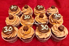 30th Birthday Super Chocolate Caramel Cupcakes (Leanne's Cake Creations (Irchester)) Tags: birthday cake 30 cupcakes chocolate ganache irchester caramel cupcake leanne 30th rolo creations thirty salted leannes maskell