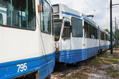 2014-09-08, Sarajevo, Depo (Fototak) Tags: sarajevo bosnia tram gras 803 strassenbahn lhb gvb 795 blokkendoos