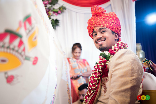 Nirav one side of the veil and bride is yet to come to mandap