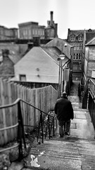Step by Step (Mark.L.Sutherland) Tags: cameraphone blackandwhite man guy monochrome stairs walking mono scotland highlands focus steps perspective streetphotography samsung smartphone sutherland inverness stepbystep goingdown selectivefocus phonography androidography galaxys5