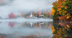 Eaton, NH (Robert Allan Clifford) Tags: crystallake eaton littlewhitechapel newhampshire atmosphere autumn chapel color fall fog foliage lake land mist nh reflection robcliffordphotography robertclifford robertallancliffordcom scenic trees view village water weather