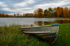 Beautiful Colours Down By The Lake (DDB Photography) Tags: silver lakes lake pond boat row leaves autumn fall leaf water landscape landscapephotography grass nature foliage sky clouds cloud outdoor outdoors
