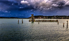 Titlow-Beach-Storm-10-15-16-HDR (Rob Green - SmokingPit.com) Tags: titlow beach ferry landing historic old pilings pier puget sound water saltwater narrows storm tacoma wa south clouds sea maritime canon 7d mark ii 2 rob green washington sand waterfront view weather hdr waves wind windy commencement bay