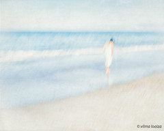 Pondering....... (vilmaca) Tags: woman icm intentionalcameramovement painterly pacificocean oxnard beach sand blue pondering contemplation walking waves reflection