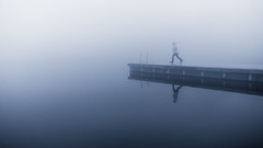 Down the foggy ruins of time (Bhalalhaika) Tags: fog mist jetty girl woman running bobdylan ocean lake norway oslo boy kid child