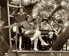 Tree house ladies (kevin63) Tags: lightner photo treehouse 20s women rolledstockings conversation table smoking hats scarf chinese lantern tea cup ladder