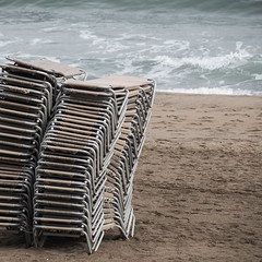 end of season (morbs06) Tags: barcelona catalunya abstract architecture autumn beach city colour deckchairs lines pattern repetition sand sea square stack stripes water