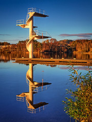 No divers, the summer is gone (Explored) (Vest der ute) Tags: g7x norway rogaland haugesund waterscape landscape water reflections mirror divingtower trees fav25 fav200