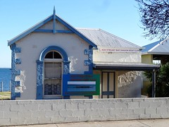 Streaky Bay on Eyre Peninsula. The former Council Chambers built in 1892. Now the Dragon boat Club rooms. (denisbin) Tags: eyrepeninsula streakbay flinders bay coast jetty pier councilchamber cemetery walledcemetery dragonboatclub dragonboats gumtree eucalyptus