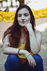 Letcia (TheJennire) Tags: photography fotografia foto photo canon camera camara colours colores cores light luz young tumblr indie teen yellow face flickr people portrait 50mm yello summer ibina girl lifestyle