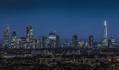 Tetris (aurlien.leroch) Tags: europe uk england london skyline bluehour tetris skyscrapers shard gherkin herontower tower42 walkietalkie chessegrater barbican archway nikon d3000 tamron