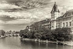View from Pont Saint-Michel, Paris, France (Earthman.) Tags: pontsaintmichel seine riverseine paris france sepia bw blackandwhite blackwhite monochrome earthman x100t fuji architecture