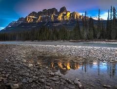 Castle Mountain, Alberta, Canada (leomacdonald) Tags: alberta canada banff explore sonya7 castlemountain reflection ice cold yellow warm morningsun rockies bowriver