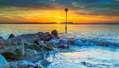 Incoming Wave (nicklucas2) Tags: seascape beach isleofwight needles sea groyne sunrise solent seaweed sun wave