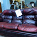 4+3  very comfortable wine leather suite