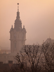 Clock tower (Raoul Pop) Tags: rooftops morning historic tinroof cathedral winter tower spires architecture clocktower buildings cityscape cluj skyline haze fog clujnapoca transilvania romania ro
