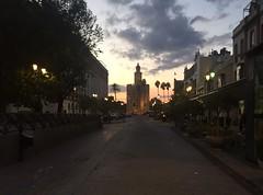 Torre del Oro al atardecer (ISA_6) Tags: sevilla torre del oro puerta de jerez sunset sky clouds cityscape oldtown andaluca spain buildings architecture iphone 6