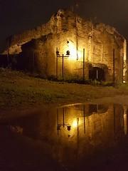 Reflections of history (Mani-comio) Tags: ruins rovine roma rome romanempire imperoromano mausoleo mausoleum villagordiani prenestina park parco notte night luce light lights riflesso reflection acqua water nophotoshop